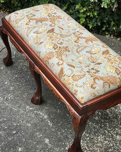 (SOLD) Gorgeous Vintage French-Victorian Clawfoot Bed-End/All Purpose Newly Upholstered Bench!! 42X20X20
