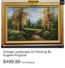 Load image into Gallery viewer, (SOLD) Gorgeous Large Vintage Oil Painting by Eugene Kingman mounted on a gold gilded wooden frame with mounted light!! 50X31
