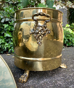 (SOLD) Gorgeous Large 3PC Vintage Victorian Decorative Brass Buckets/Decor/Storage with Beautiful Details and Excellent Condotion!!