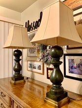 Load image into Gallery viewer, (SOLD) Gorgeous Heavy Duty Large Mid-Century Decorative Lamps!! ((Dark Moss Green with Brass Base)