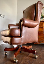 Load image into Gallery viewer, (SOLD) BEAUTIFUL High-End Hekman Large Executive Genuine Leather Chair with Nailhead Trim in Excellent Condition!!