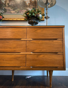 (SOLD) Stunning Versatile Danish Mid Century Modern 3PC Bedroom Set/Credenza/Entryway/Media (Dresser with Custom Glass Top, 1 Nighstand and Mirror) in Excellent Condition!!!