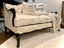 Load image into Gallery viewer, (SOLD) Gorgeous Vintage French Country Tufted Decorative Loveseat in Cream Floral Fabric and Black Wood Frame!!