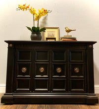 Load image into Gallery viewer, (SOLD) Gorgeous High-End Mid-Century Stanley Buffet/Entryway/Console/Media/Credenza (in wheels and marble top!) with Beautiful Details and Solid Wood!!