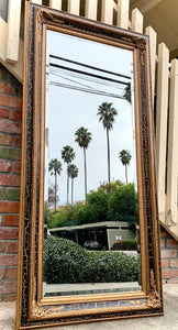 (SOLD) Stunning Extra Large French Bevelled Black and Gold Floor/Wall Decorative Mirror with Gorgeous Details is indeed Beauty & Class!!!