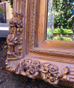 (SOLD) Gorgeous STATEMENT French Country Extra Large Decorative Standing/Wall Mirror with Belleved Glass and Beautiful Floral Design!!