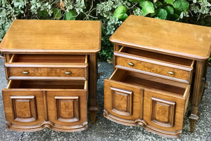 (SOLD) Pair of Gorgeous Uniquely Sturctured Versatile Mid-Century Modern Nightstands with Beautiful Details. Perfect Pieces for MCM and Wood Lover!!
