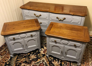 (SOLD) Gorgeous Vintage High-End Thomasville French Country Dresser and 2 Nightstands in Excellent Condition. Perfect Versatile Pieces!!