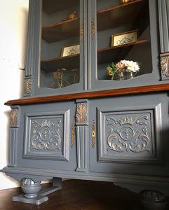 (SOLD) Gorgeous Versatile Antique Victorian China/Display Cabinet/Entryway/Bookshelf/Dresser/Buffet with Beautiful Details!! 52X70X17