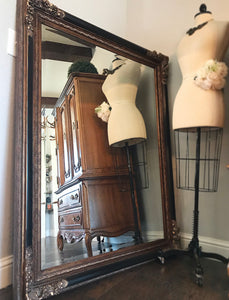(SoLD) Stunning Vintage French-Victorian Heavy Duty X-Large Mirror with Gorgeous Handcarved Floral Design and Bevelled Glass!! 57X46
