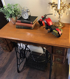 (SOLD) Gorgeous 1940s Decorative Heavy Duty Sewing Machine Table with Beautiful Details and Hardware!!