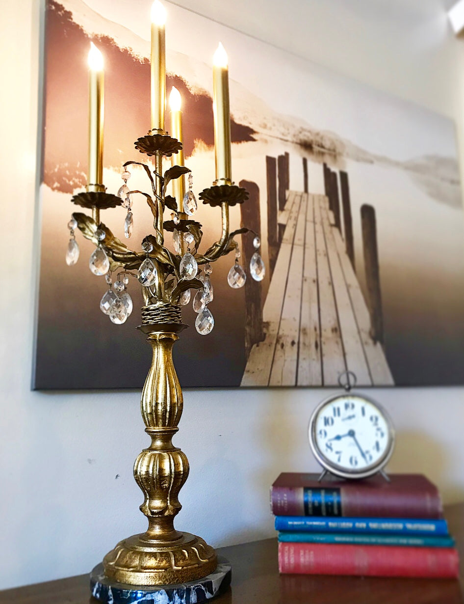 (SOLD) Gorgeous Vintage Victorian Candeleir Table Lamp with Beautiful Design and Excellent Condition!! 30H 13W