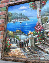 Load image into Gallery viewer, (SOLD) STUNNING Large Italian Villa/Lake Como Oil Painting in Beautiful Frame and Excellent Condition!! Perfect STATEMENT Home Decor indeed!!