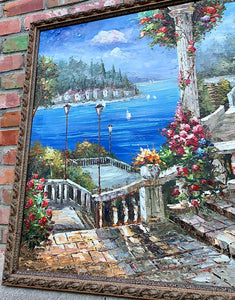 (SOLD) STUNNING Large Italian Villa/Lake Como Oil Painting in Beautiful Frame and Excellent Condition!! Perfect STATEMENT Home Decor indeed!!