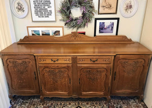 (SOLD) Stunning and Rare 1940s French Country Louis XV Extra Large Credenza/Buffet/Media/Entryway with Gorgeous Carving, Details and Hardware!!