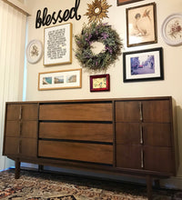 Load image into Gallery viewer, (SOLD) Gorgeous Mid-Century Modern Credenza Media Buffet Dresser Entryway with Beautiful Hardware and Solid Wood. Perfect MCM Bargain BEAUTY for Wood Lover!!