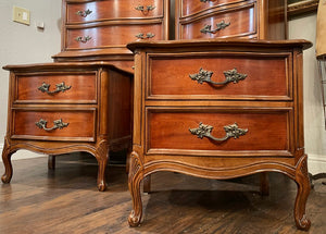 (SOLD) STUNNING 7PC High-End French Country Modern Queen Anne Style Bedroom Set by Dixie in Superb Condition!! Solid BEAUTIES!!!
