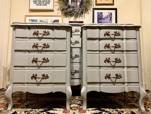(SOLD) Gorgeous and Newly ReDesigned MODERN FRENCH COMMODES Dresser and 2 Nightstands. Perfect Pieces for Modern French Country Lover!!