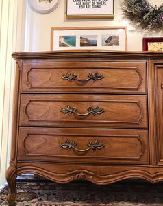 (SOLD) Gorgeous Vintage High-End Thomasville Large French Country Dresser/Media/Buffet/Entryway with Beautiful Details and Hardware!! 78X32X20
