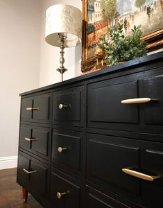 (SOLD) Newly ReDesigned Gorgeous BLACK Mid Century Modern 9Drawer Dresser/Entryway/Media/Console/Buffet/Credenza. Perfect BARGAIN and Versatile MCM Beauty!! 59X31X19