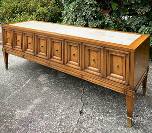 (SOLD) Gorgeous High-End Heirloom Weiman Marble Top Mid Century Modern Console/Media/Entryway with Beautiful Design and Original Hardware!!