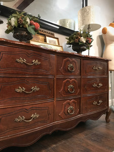 (SOLD) Gorgeous Vintage French Country High-End Bassett Dresser/Entryway/Media/Buffet with Beautiful Details and Hardware!!
