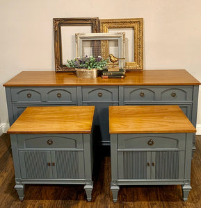 (SOLD) Gorgeous Set of Newly ReDesigned Bedroom Dresser and Set of Nightstands!! Perfect Pieces any room in your Nest. They are BEAUTIES!!!