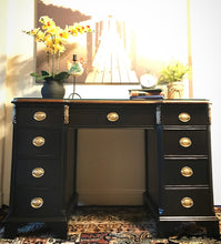 Load image into Gallery viewer, (SOLD) Gorgeous ReDesigned 1940s Victorian Desk/Vanity (you just need mirror) Media/Entryway with Beautiful Gold Details and Hardware!!!!