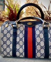 Load image into Gallery viewer, (SOLD) Gorgeous Authentic Vintage Original Monogram Web Boston GUCCI Handbag in Navy and Red Web Stripe in Great Condition!!