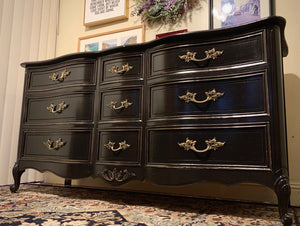 (SOLD) GORGEOUS and Newly ReDesigned Restoration Hardware inspired French Country Dresser/Media/Entryway/Sofa Table/Console/Buffet with Beautiful Design and Hardware!! Perfect BLACK BEAUTY!!