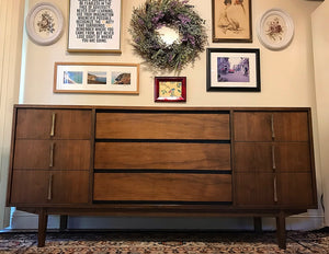 (SOLD) Gorgeous Mid-Century Modern Credenza Media Buffet Dresser Entryway with Beautiful Hardware and Solid Wood. Perfect MCM Bargain BEAUTY for Wood Lover!!