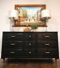 Load image into Gallery viewer, (SOLD) Newly ReDesigned Gorgeous BLACK Mid Century Modern 9Drawer Dresser/Entryway/Media/Console/Buffet/Credenza. Perfect BARGAIN and Versatile MCM Beauty!! 59X31X19