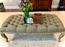 Load image into Gallery viewer, (SOLD) Gorgeous High-End French Modern Tufted Coffee Table/Ottoman by Ballard Designs in Sage Green!! Perfect Bargain Add-On Beauty any room in your Neat. Solid, Comfy, Sturdy and Beautiful!