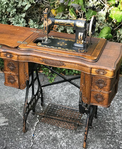 (SOLD) Stunning 1908 Antique White Rotary Sewing Machine and Table with Beautiful Handcarved Details and Heavy Duty Solid Tiger Oak Wood!!