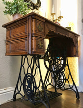 Load image into Gallery viewer, (SOLD) Gorgeous 1940s Decorative Heavy Duty Sewing Machine Table with Beautiful Details and Hardware!!