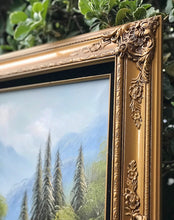 Load image into Gallery viewer, (SOLD) Gorgeous Vintage Mountain Waterfall Oil Painting in Stunning French Wood Frame and Excellent Condition!! 52X32