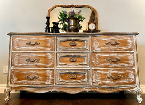 (SOLD) Gorgeous High-End Restoration Hardware inspired Modern French Country  Rustic-White Wash Dresser/Media/Entryway/Buffet with Beautiful Details and Hardware!!