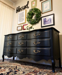GORGEOUS and Newly ReDesigned Restoration Hardware inspired Dresser-Entryway-Buffet-Console!! Stunner Versatile BLACK Beauty!!!