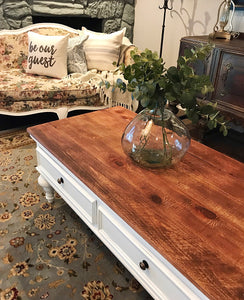 (SOLD) Gorgeous Pottery Barn inspired French-Farmhouse Coffee Table in Excellent Condition!! Beautifully Constructed!! 56W 20H 26D