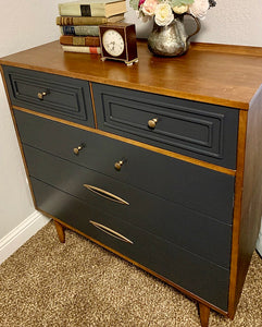 (SOLD) BEAUTY in SIMPLICITY! Newly ReDesigned GRAY 5Drawer DANISH MID CENTURY MODERN Chest is just Perfect! Ideal Piece for MCM and Wood Lover!!