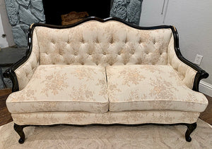 (SOLD) Gorgeous Vintage French Country Tufted Decorative Loveseat in Cream Floral Fabric and Black Wood Frame!!