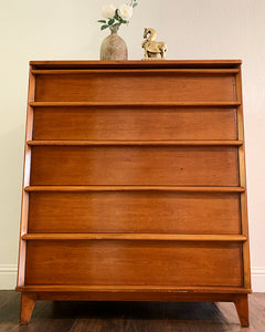 (SOLD) Simply Beautiful Mid Century Modern HighBoy-Chest of Drawers in Superb Condition!! Perfect BARGAIN MCM for Minimalist and Wood Lover!!