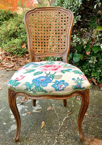 (SOLD) 2 GorgeousVersatile (French and Victorian) Vintage Decorative Cane Chairs with Beautiful Fabric and Excellent Condition!!!