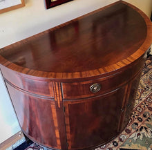Load image into Gallery viewer, (SOLD) Gorgeous Vintage High-End Johnson Furniture Co. Demilune Half Round Vintage Entryway/Console Table in Excellent Condition!! 38W 33H 18D