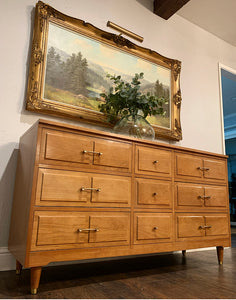 (SOLD) Gorgeous 3PC Mid Century Modern Danish Style Dresser and matching Set of Nightstands with Original Brass Hardware and Superb Condition. Perfect Versatile MCM Pieces!!!