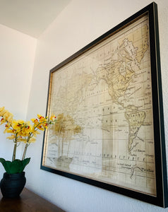 (SOLD) Beautiful Mid Century Modern Large WORLD MAP with glass cover in Superb Like NEW Condition!! Perfect Heavy Duty Home Decor!! 44X34