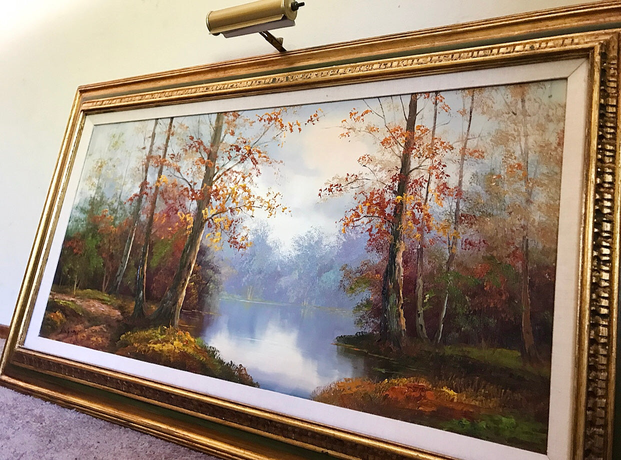 (SOLD) Gorgeous Large Vintage Oil Painting by Eugene Kingman mounted on a gold gilded wooden frame with mounted light!! 50X31
