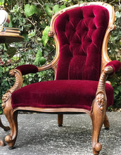 Load image into Gallery viewer, (SOLD) Gorgeous Vintage Victorian Red Wine Velvet Accent Chair with Beautiful Details and Antique Foldable Side Table with Inlay Design!!!