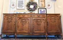 Load image into Gallery viewer, (SOLD) Stunning and Rare 1940s French Country Louis XV Extra Large Credenza/Buffet/Media/Entryway with Gorgeous Carving, Details and Hardware!!