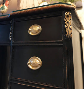 (SOLD) Gorgeous ReDesigned 1940s Victorian Desk/Vanity (you just need mirror) Media/Entryway with Beautiful Gold Details and Hardware!!!!